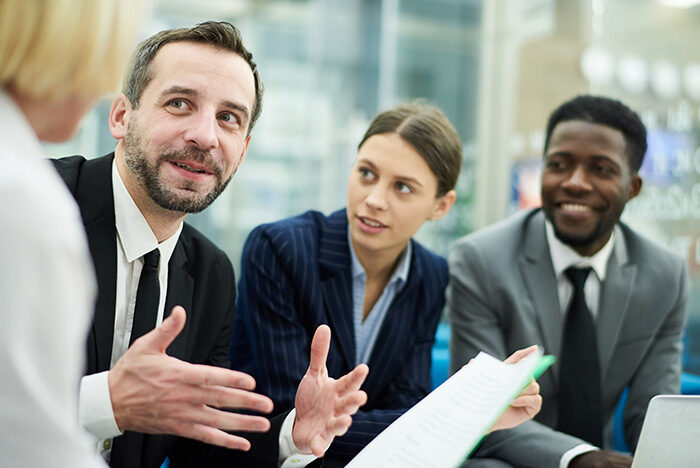 business people in insurance negotiation